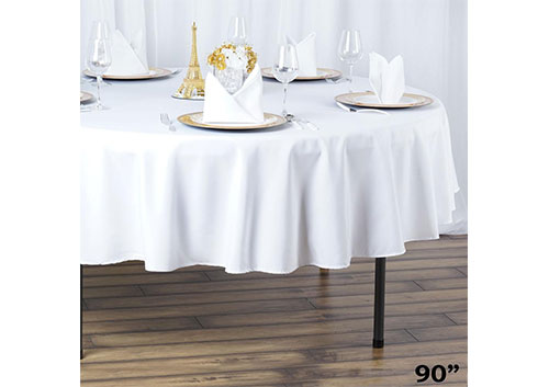 112392ee3a98a 90″ Round Table Linen – White. Home Tables 90″ Round Table Linen – White