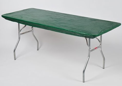 6 X30 Rectangle Green Plastic Table Cover